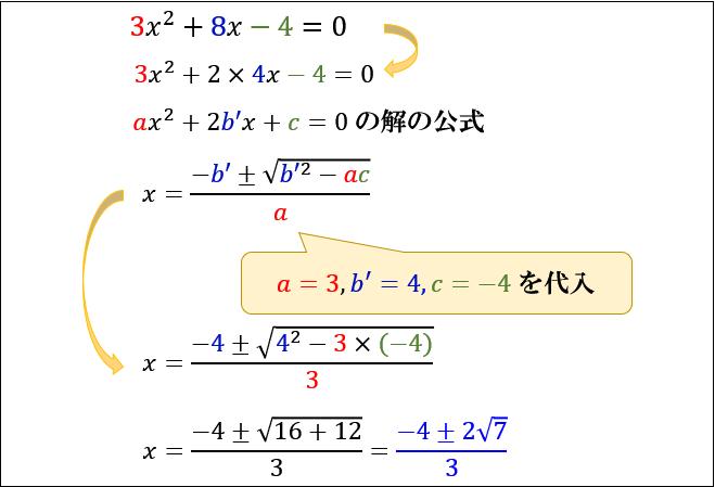 こちらの公式を使わずとも解の公式(Ⅰ)型からでも求められるので、2つの公式を混同しそうなら、まずは解の公式(Ⅰ)型だけ覚えることを優先しましょう。